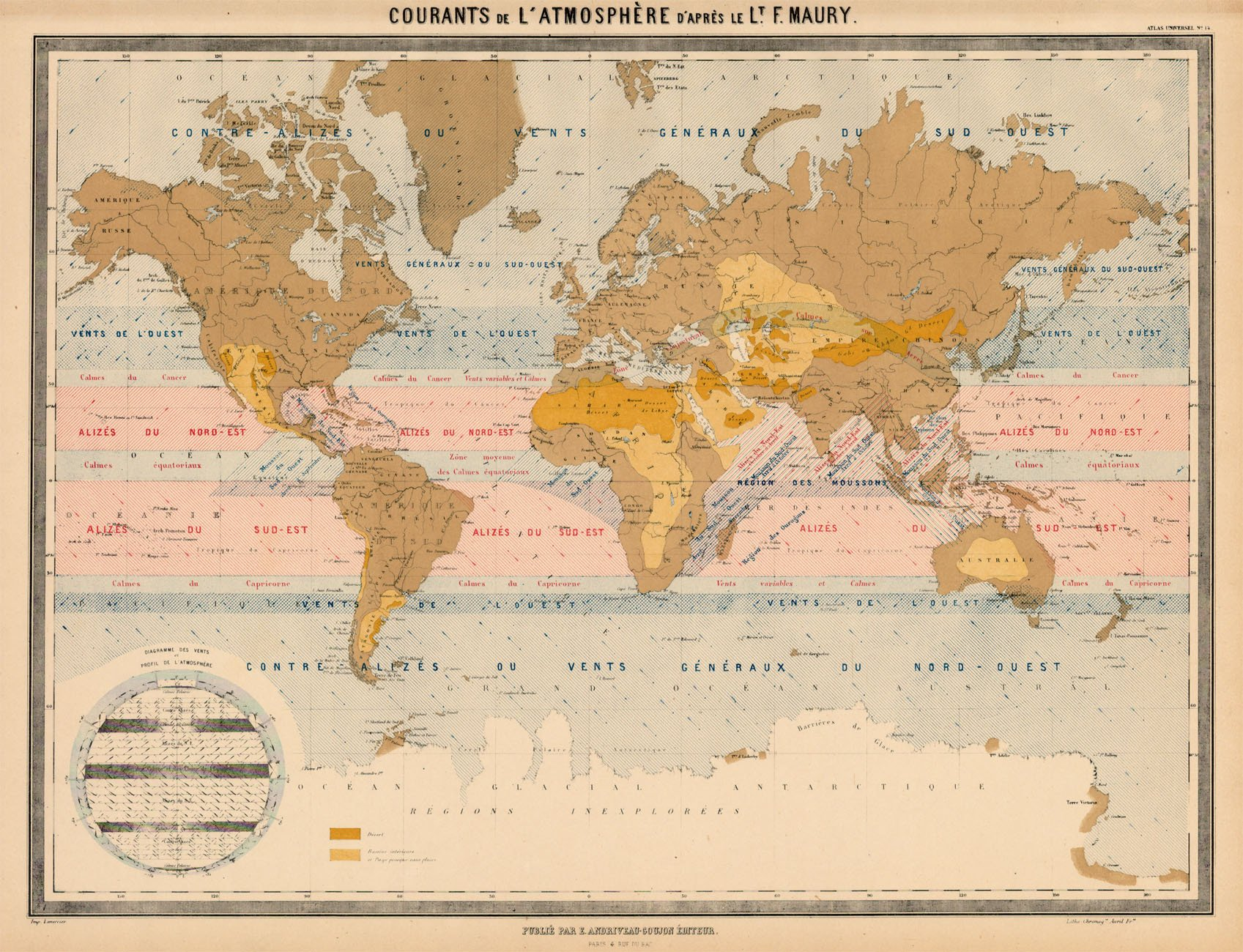 Maury's map of the known world, circa 1847.