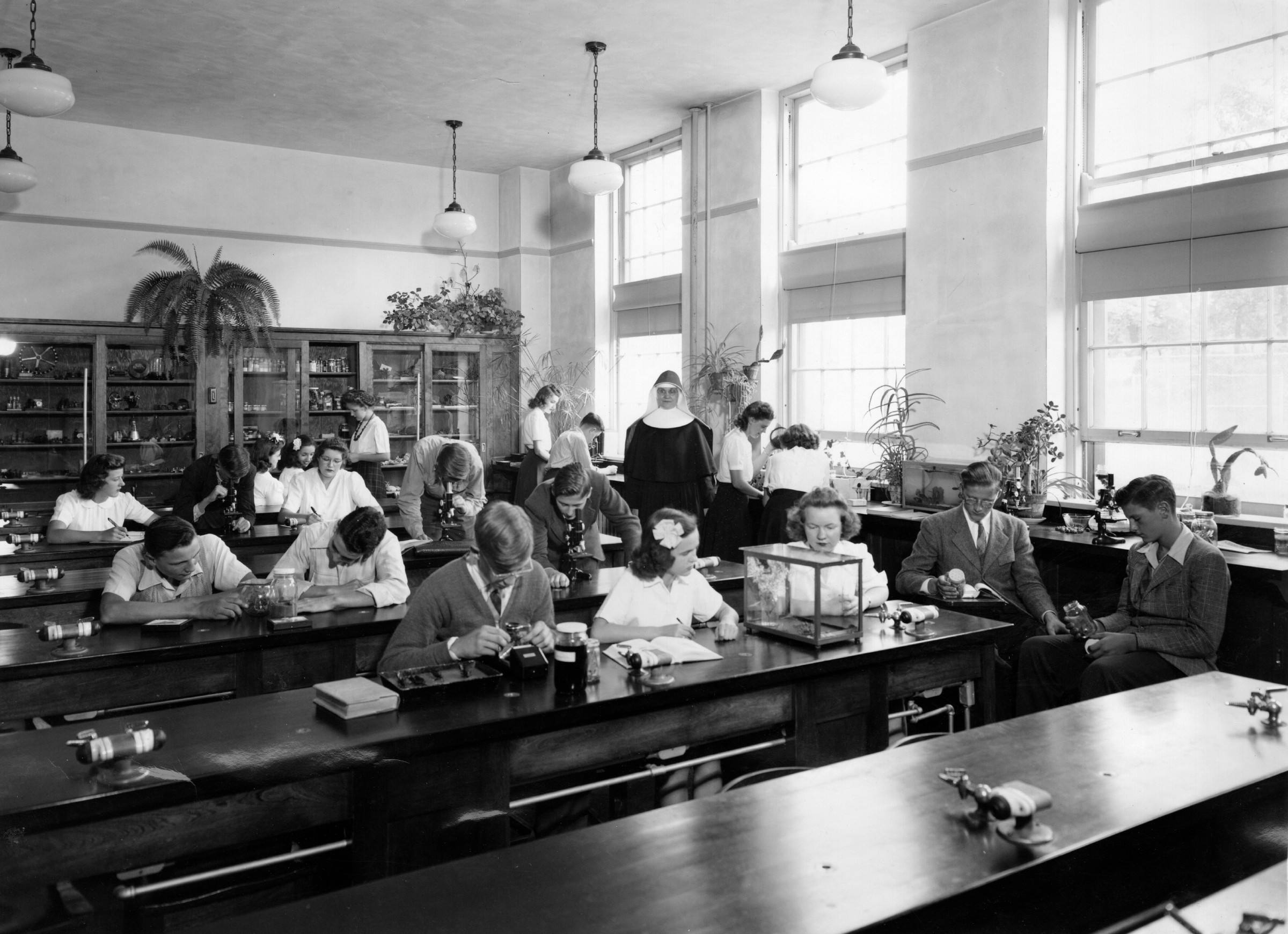 Science class at St. Mary's Springs Academy, 1940s.