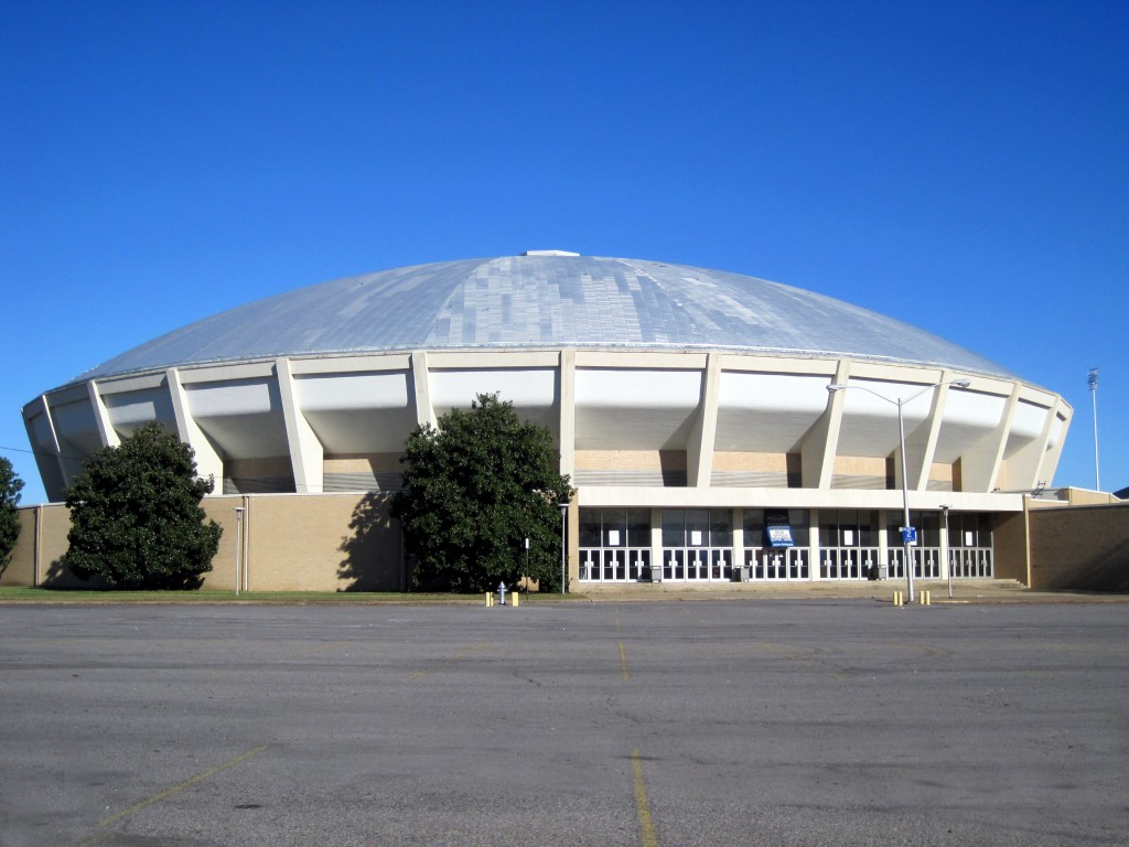The outside of the Mid-South Coliseum
