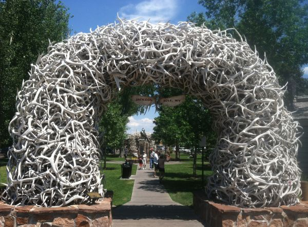 One of the famous elk antler arches