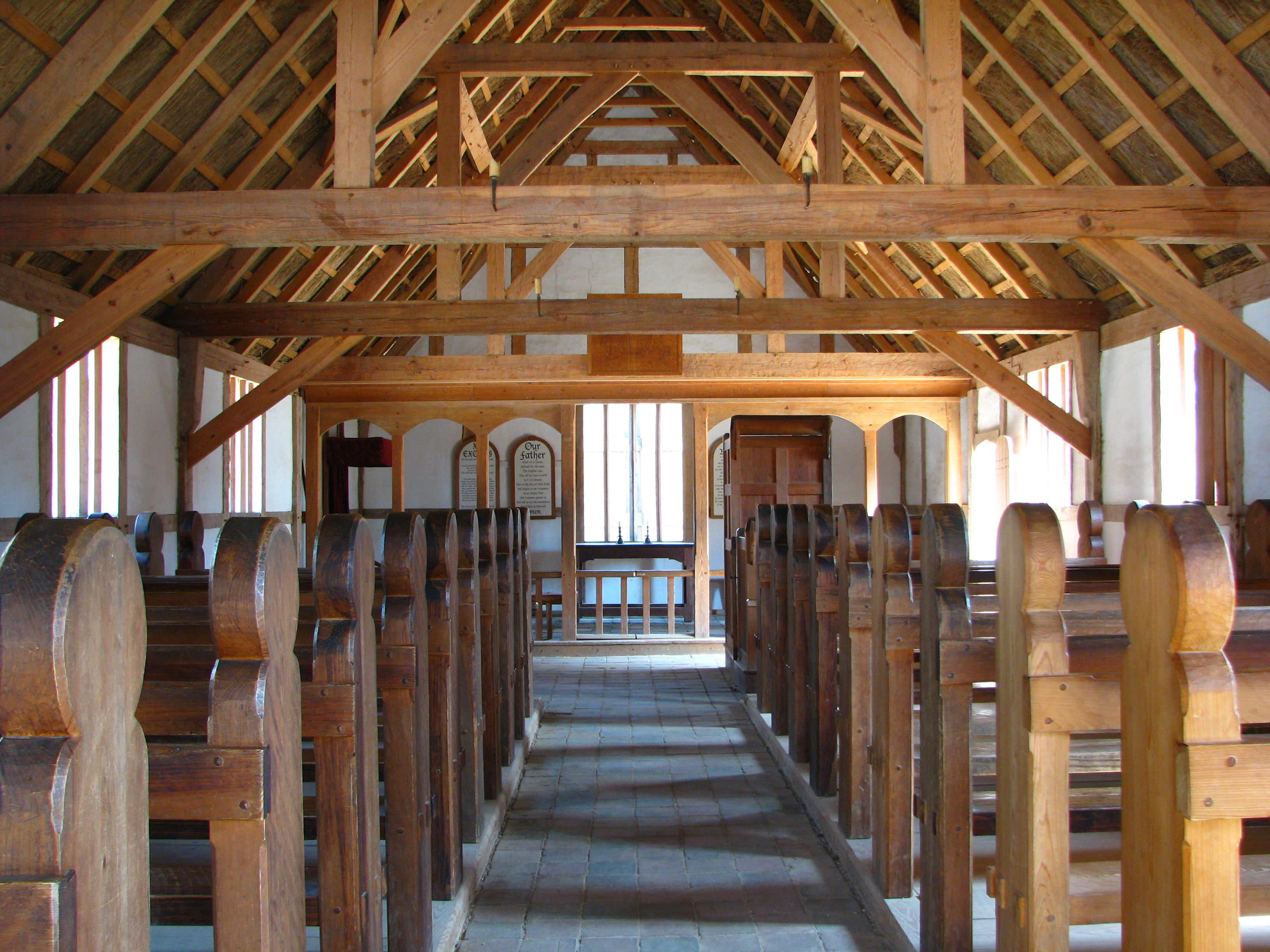 Interior of recreated Jamestown Settlement Church by Catherine on Wikimedia Commons (CC BY-SA