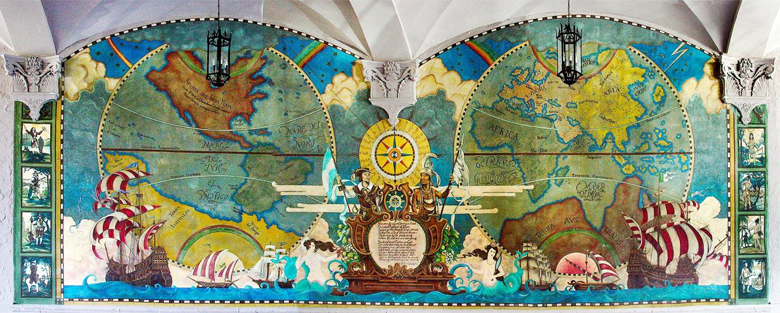 The New World Mural, which was faithfully copied from an original 1925 tapestry that could not be saved.