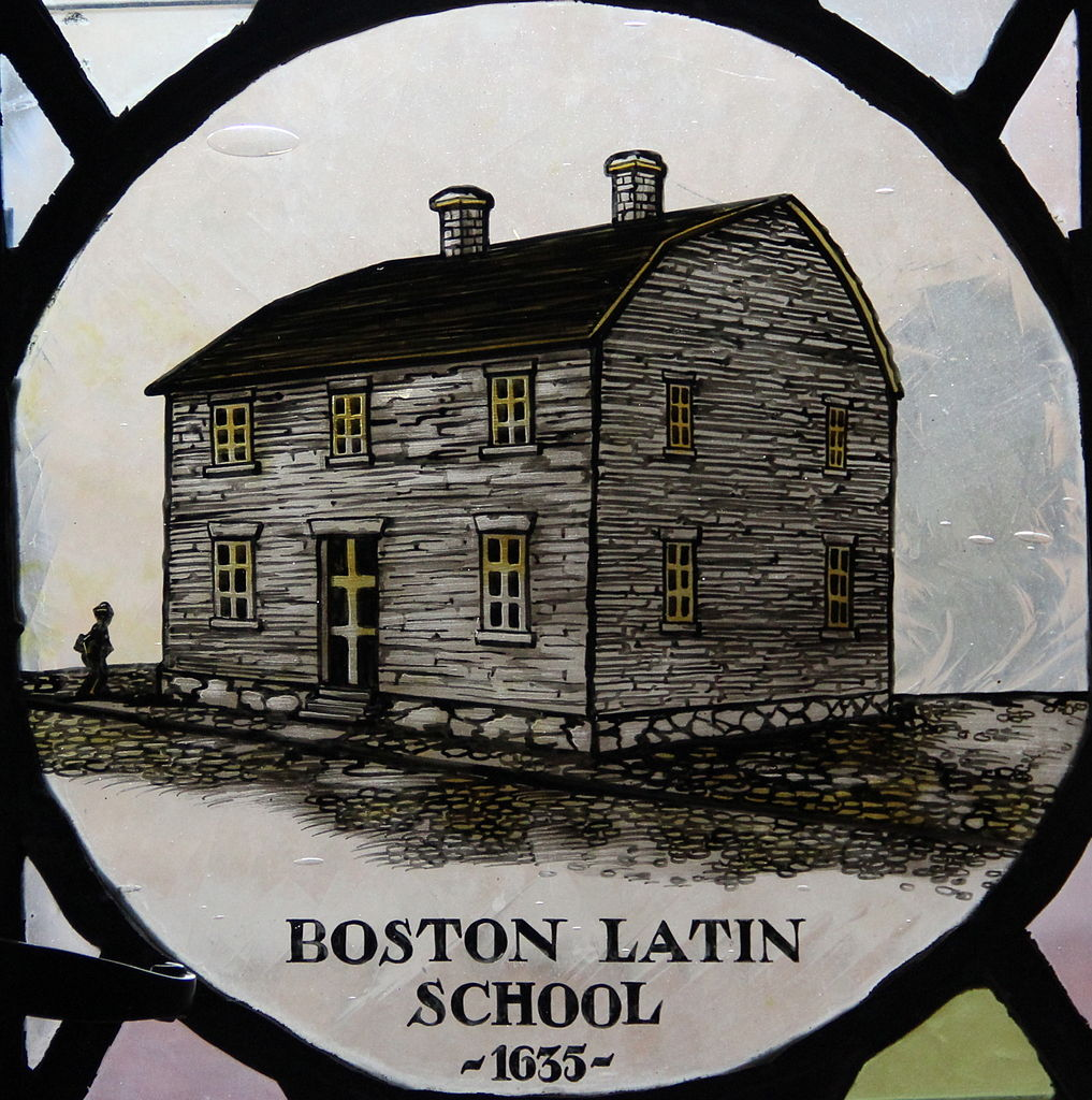Drawing of what is thought to be the first or second school building.