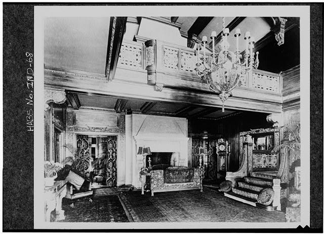 The mansion's grand foyer as it looked in 1916, to include a silver and bronze German chandelier that cost $10,000 when it was purchased in 1914.