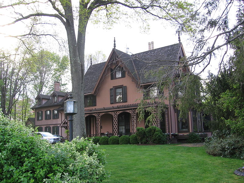 Jonathan Sturges House: this Gothic Revival cottage features a veranda with latticed trim.