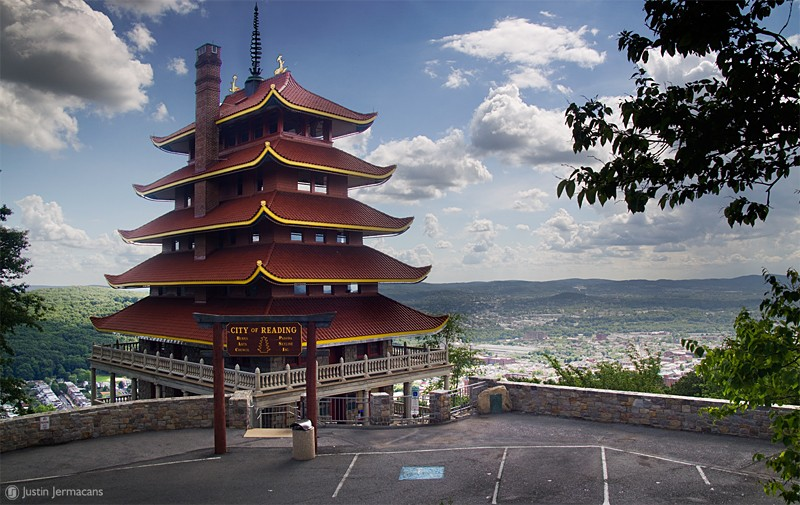 The Pagoda with the City of Reading behind it