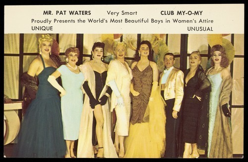 A publicity card advertising drag performers at Club My-O-My, c.1950s