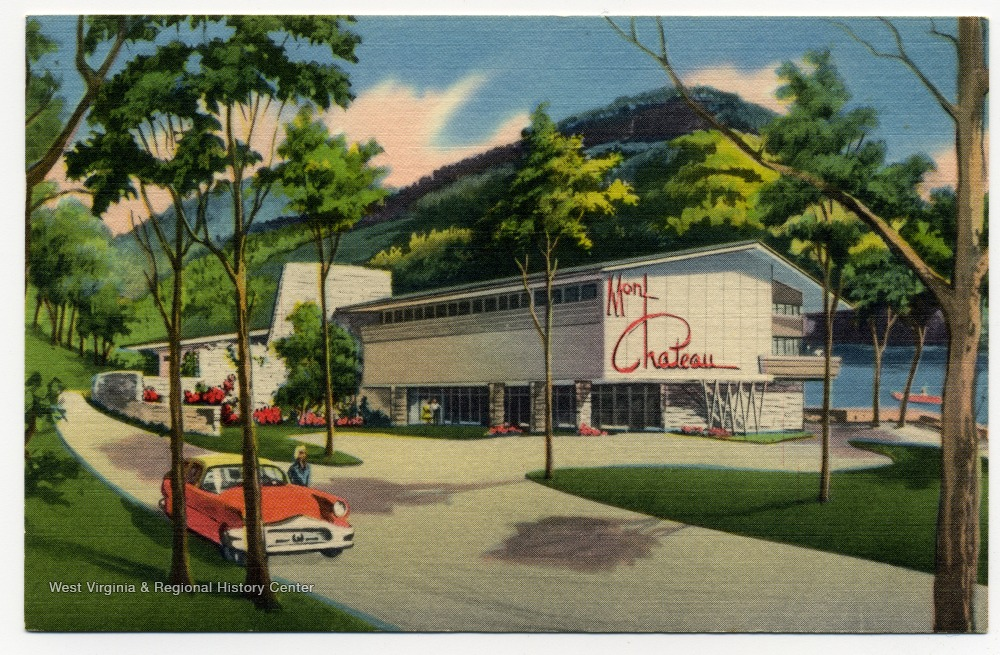"A stylized postcard of Mont Chateau, ca. 1958 - 1969. The back reads, ""A Modern Rustic 55 room Lodge blended into the historic and romantic setting of the 'Old Mont' just seven miles from Morgantown and the West Virginia University campus. Reasonable rates, dining room, swimming, horseback riding, boating, hiking, skiing, hunting and fishing."""