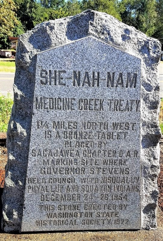 This historical marker commemorates the 1854 Treaty of Medicine Creek.