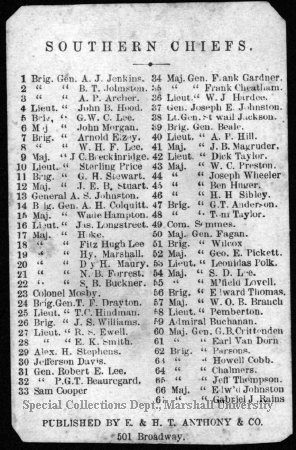 Confederate Commanders list (2 of 2) 1865 Marshall University Special Collections