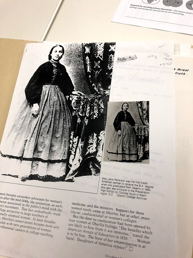 Mary Jane Patterson Original and Photocopied Graduation Photograph from 1862. This photo is available in the Oberlin College Archives.