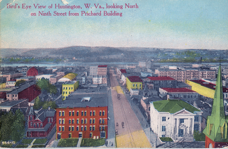 Postcard showing the Adelphia's second location, at left, across from the old Carnegie Library