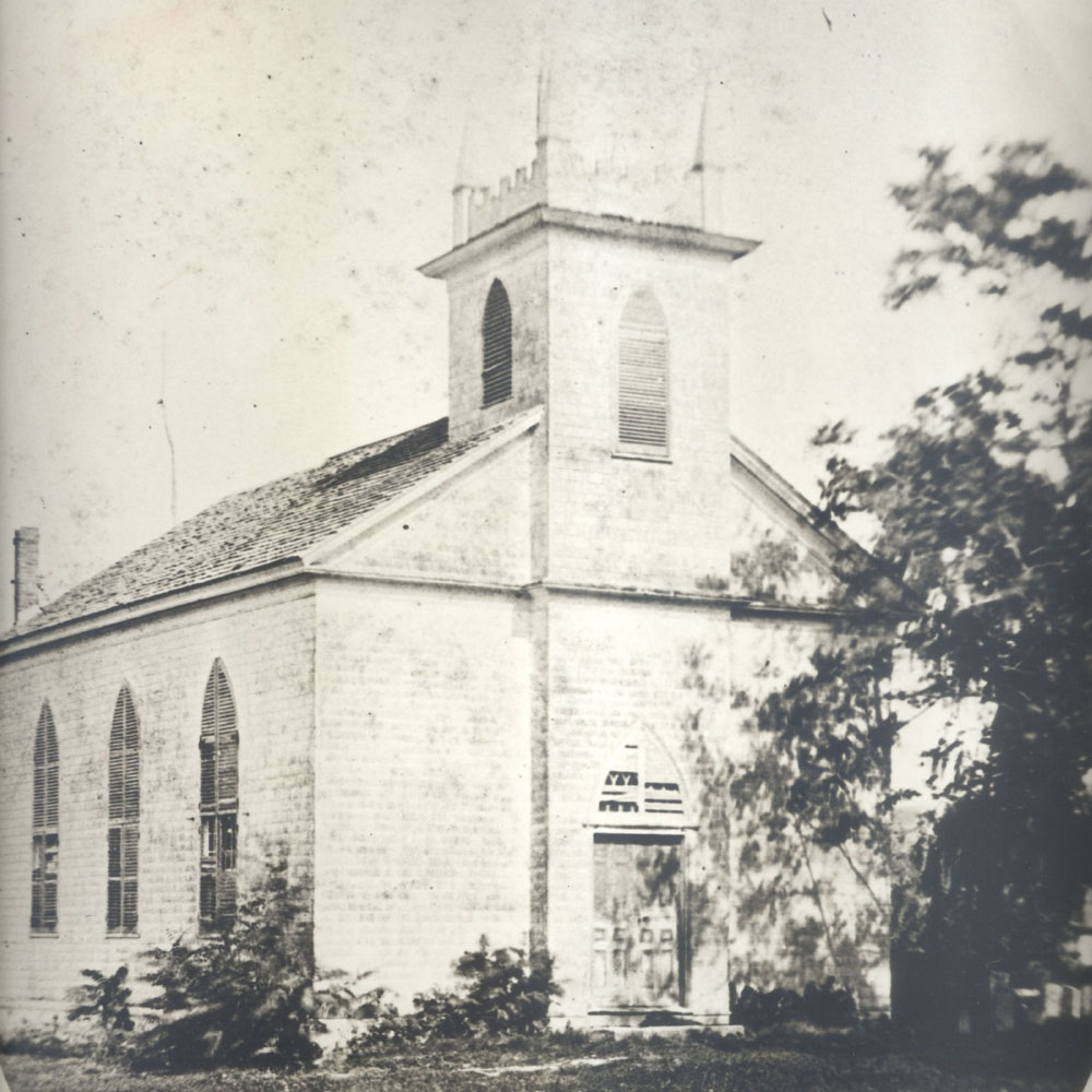 The original South Presbyterian Church was located on the west side of the Little White Church Cemetery on Ashford Avenue.