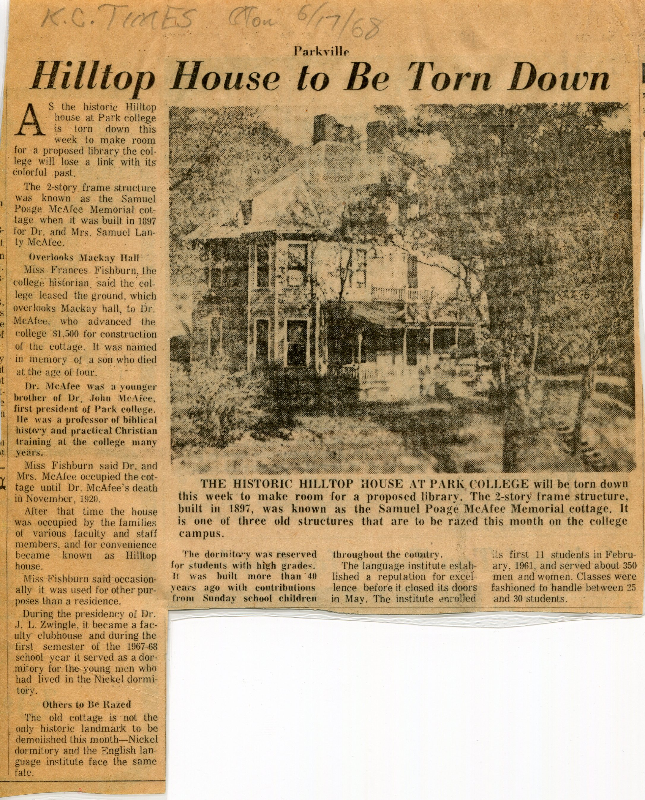 Newspaper article of Hilltop's demolition, along side two other buildings. Date of article is June 17, 1968.