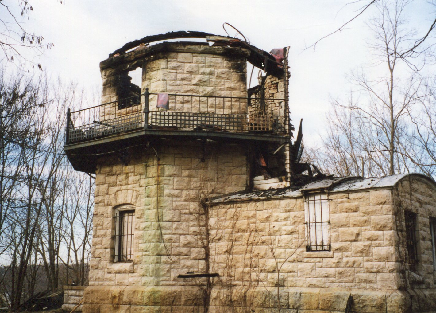 Limestone foundation after the fire.
