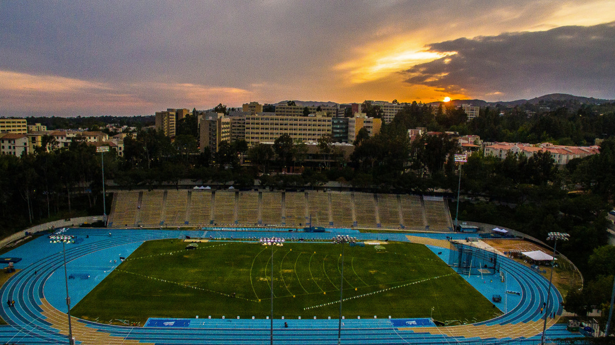WISPPMEDIA captures UCLA Drake Stadium from a sky level view, as it sits behind campus housing.