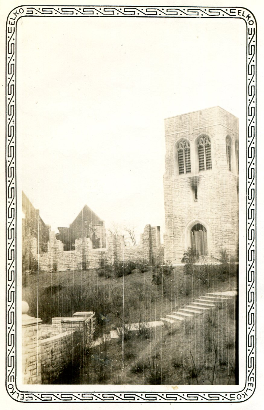 Graham Tyler Chapel under construction in 1938 after fire of 1937