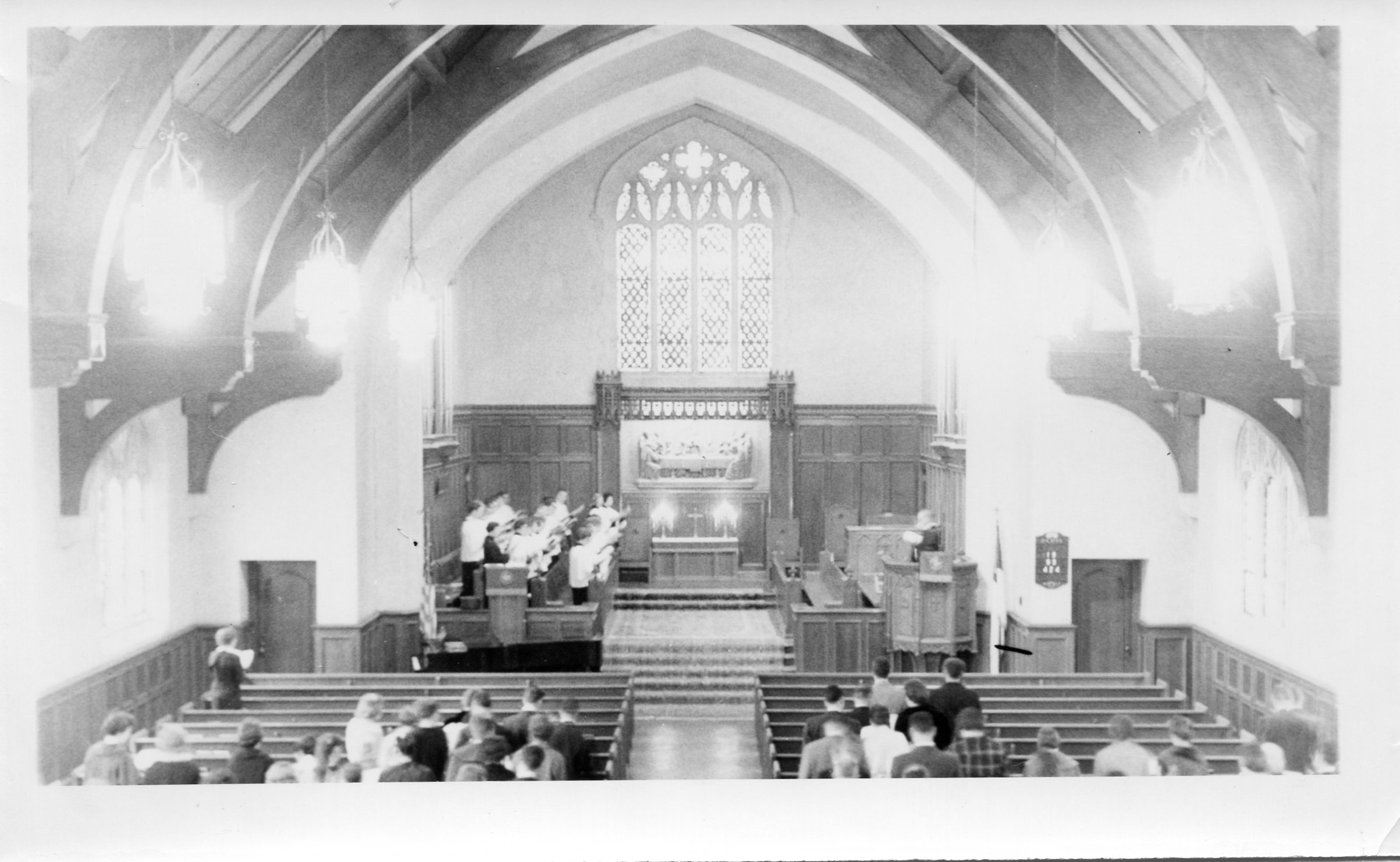 Inside of the Graham Tyler chapel after the fire of 1937