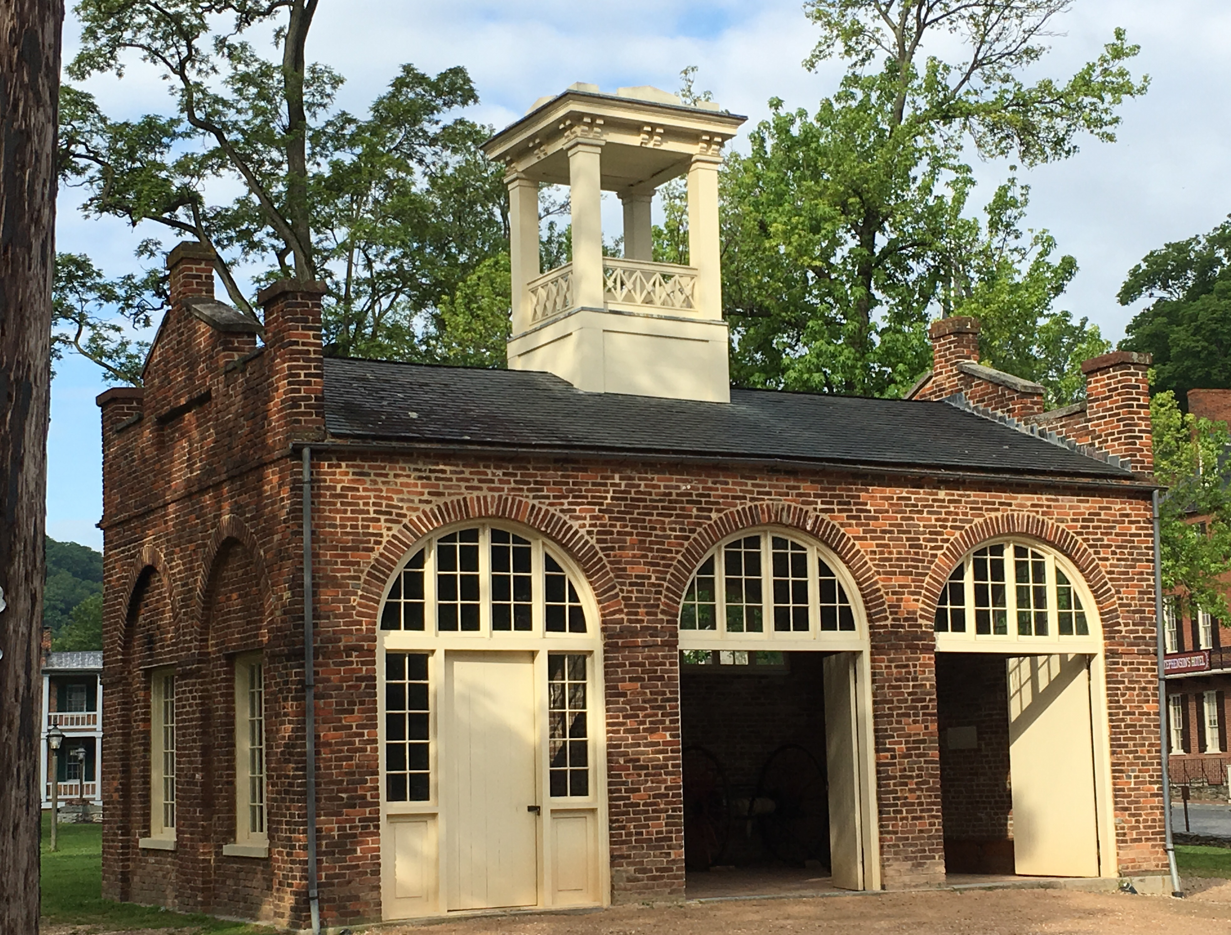 The armory's engine house, known as John Brown's Fort, today stands in Arsenal Square 150 feet south of the John Brown Monument. Image obtained from the National Park Service.