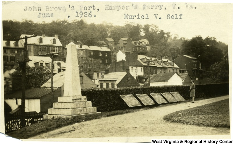 This photo from 1926 shows the 5 tablets placed by the government commemorating the Battle of Harpers Ferry. Image obtained from the West Virginia & Regional History Center.