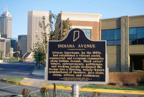 Historic marker on Indiana Avenue