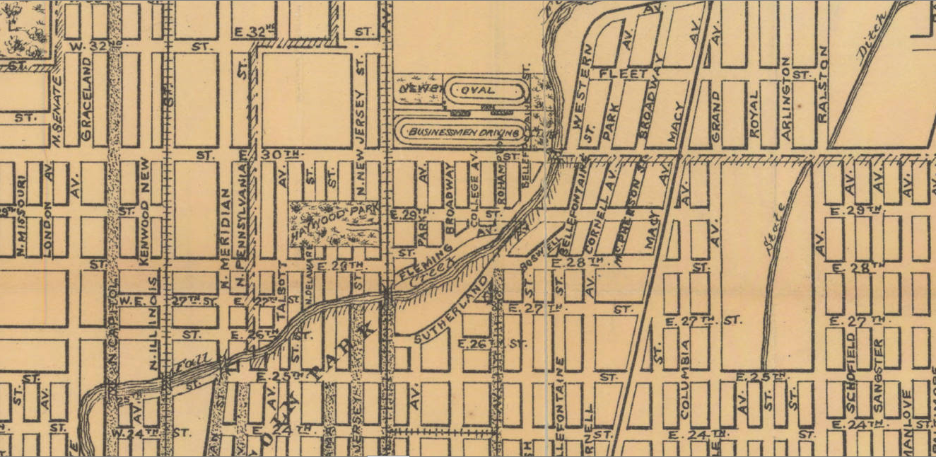 This is a map of Indianapolis at the time so you can see where the Newby Oval was located.