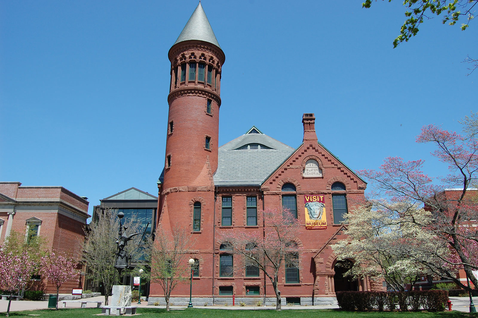 Slater Memorial Museum is a Romanesque Revival building designed by Stephen C. Earle. (source: Slater Memorial Museum)