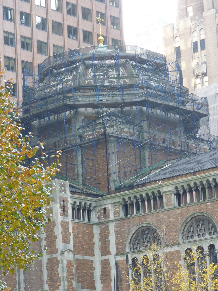 Scaffolding surrounds St. Bart's famous dome during restoration work in 2016.