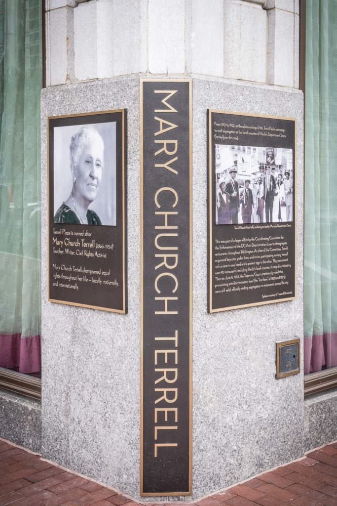 This historic marker was dedicated in 2016 and commemorates Terrell's leadership of the sit-ins that led to the end of segregation in public accommodations in Washington.