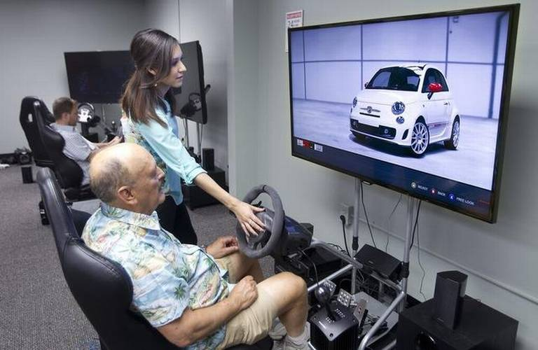 Professional car driver simulators are available to guests to try