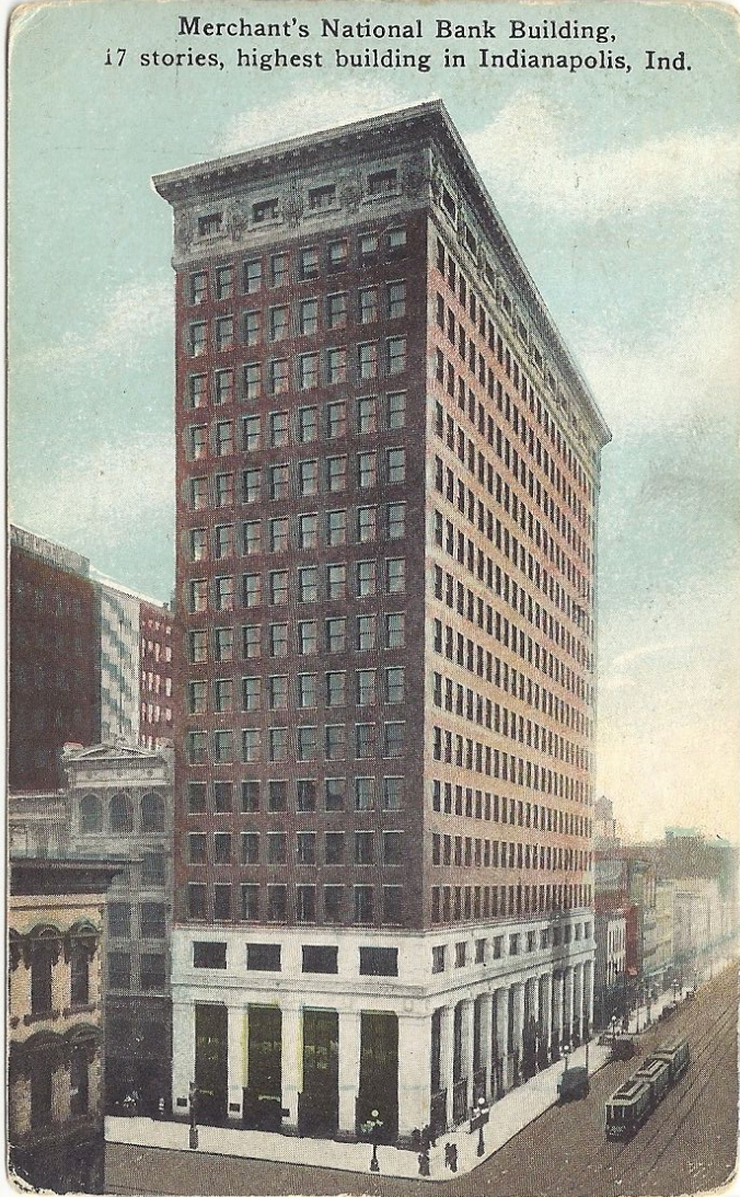 "A 1916 penny post card that features the Merchants Bank Building and proclaimed it as the ""highest building in Indianapolis."""