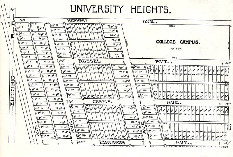 An early design of the University Heights neighborhood, to include the lot that would eventually be home to Good Hall in the upper right.