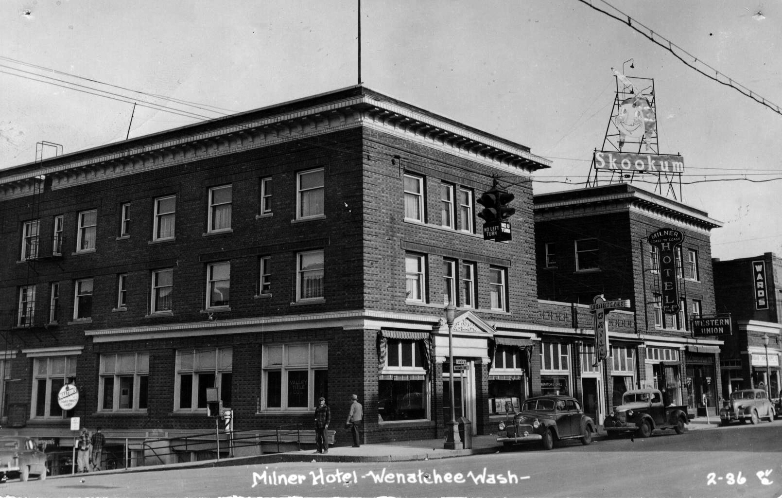 The exterior of the Wenatchee Hotel Building as it looked in the 1930s.