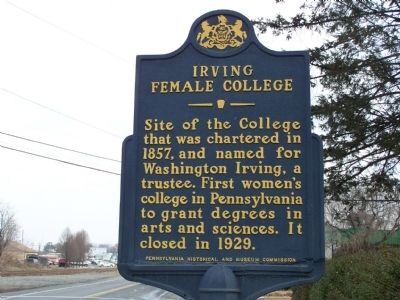 Irving Female College Historical Marker on the corner of E. Main and Filber Street in Mechanicsburg, PA at the coordinates of 40° 12.93′ N, 76° 59.977′ W.