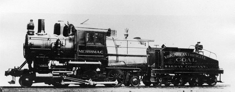 "The First ""Huckleberry"" Train (pictured here in 1904) transported coal to Blacksburg and stopped at a depot where the library is currently located (image reproduced under Fair Use)"
