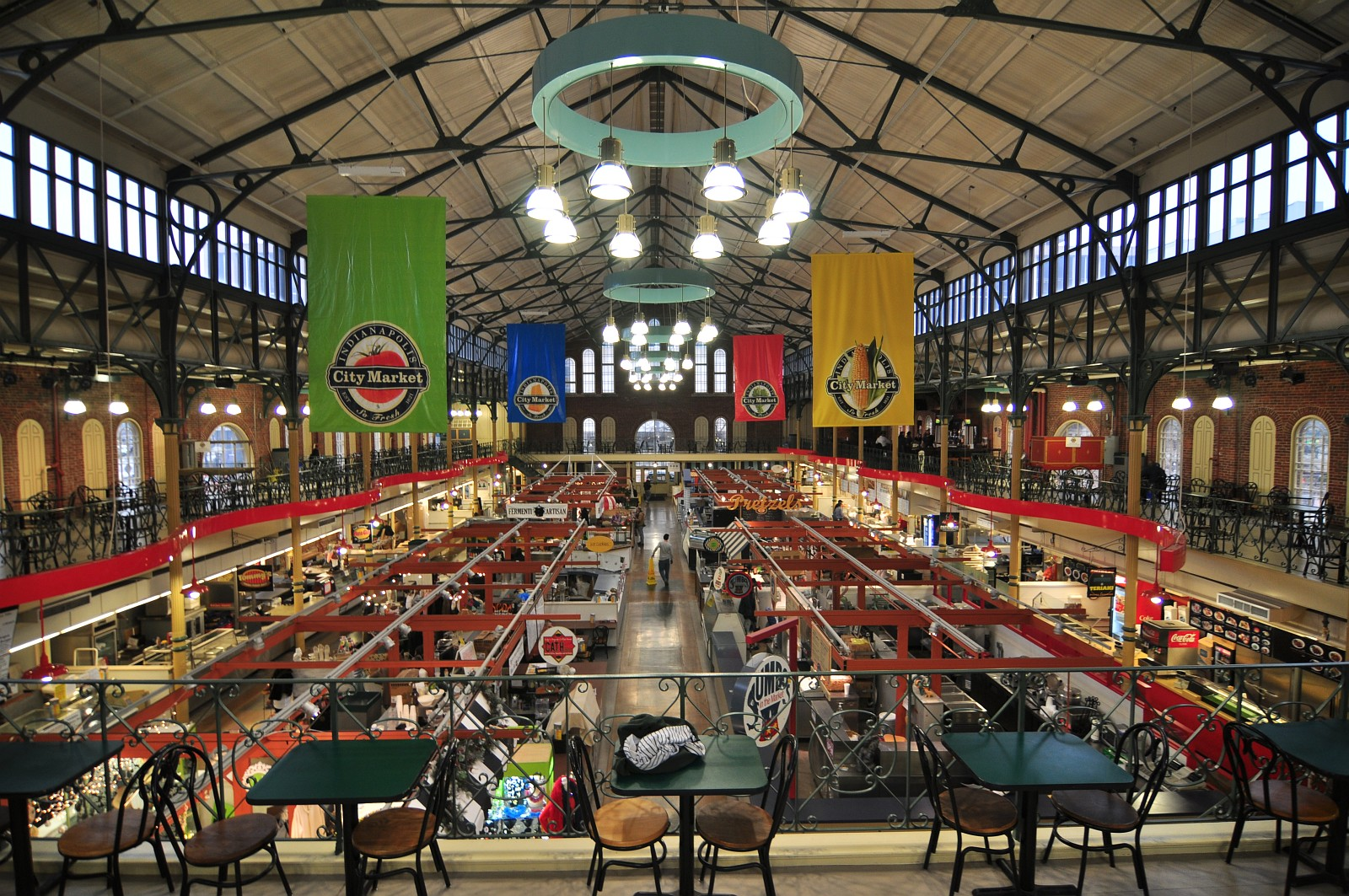 A panoramic view of the interior of City Market from the rear mezzanine which was added in the 1970s.