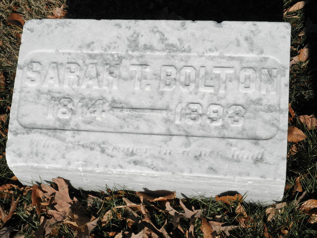 Sarah Bolton gravesite in Crown Hill Cemetery