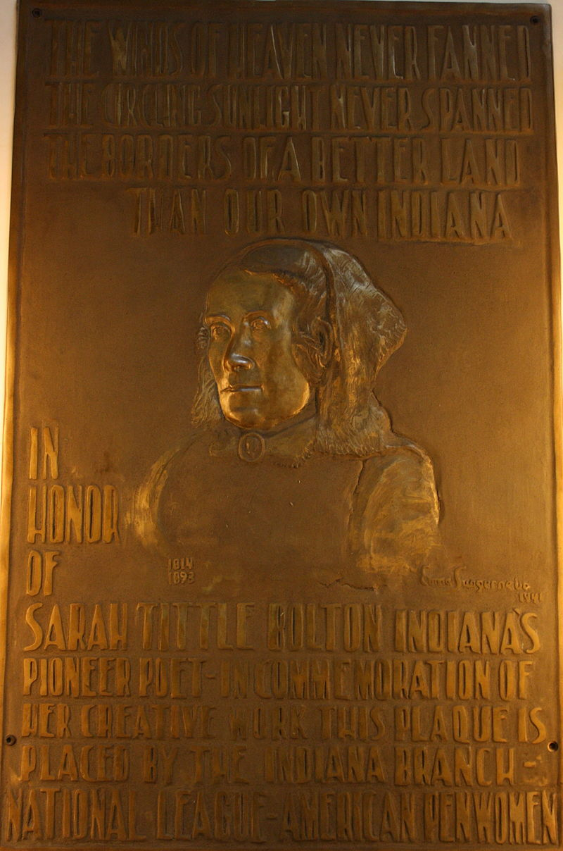 1941 bronze Sarah T. Bolton Relief in the Indiana State House.