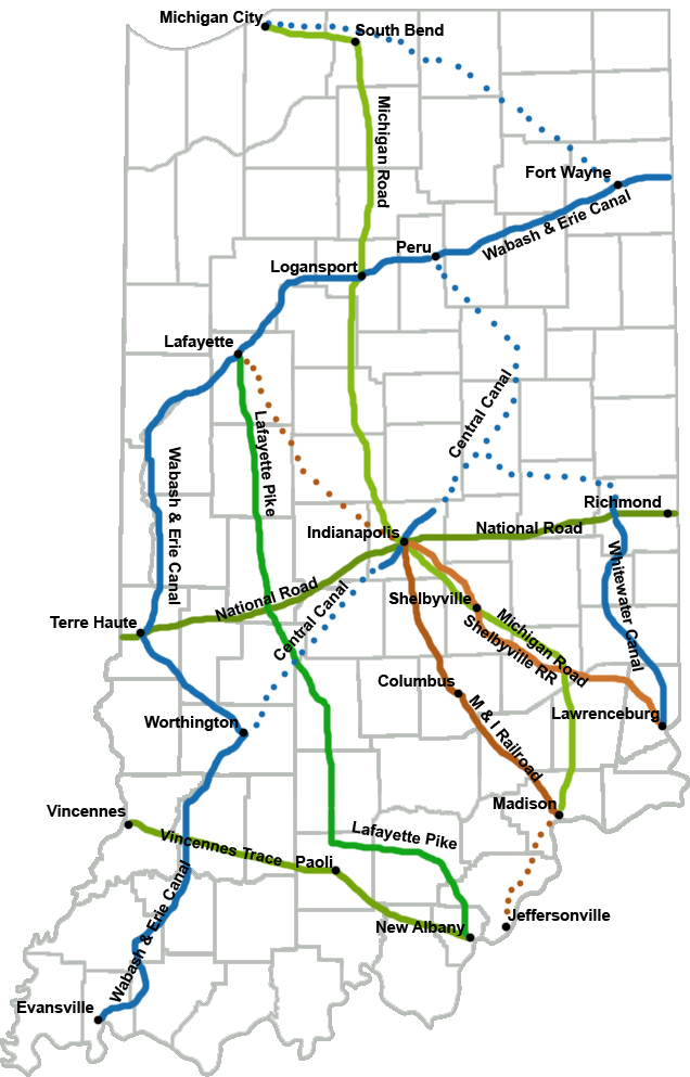 Map of the Michigan Road, other roads, canals that criss-crossed Indiana, linking East and West (especially the Northern regions of both directions.