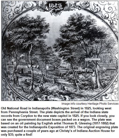 1825 engraving of the Old National Road being carved out of what is today Indianapolis's Washington Street. This is a great period time example of the roads that cut through the state and the city of Indianapolis.