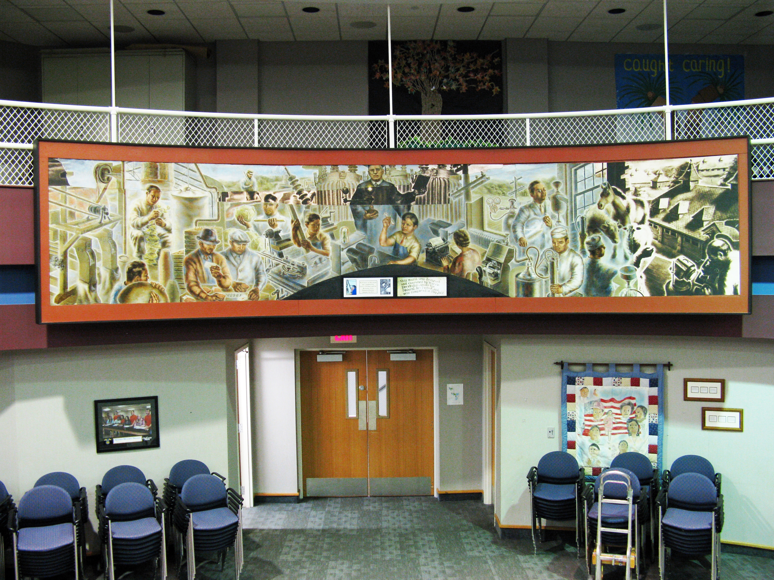 Rochester Community Schools Administration Complex, restored Marvin Beerbohm mural, 2011