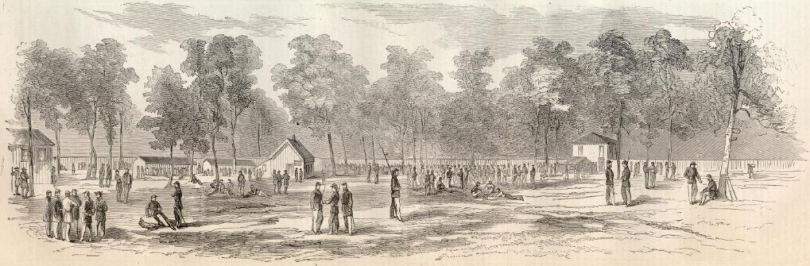 CAMP MORTON, NEAR INDIANAPOLIS, INDIANA.(Woodcut Illustration from Harper's Weekly, 9/13/1862, p. 588.) Illustration Courtesy of the Son of the South Civil War web site