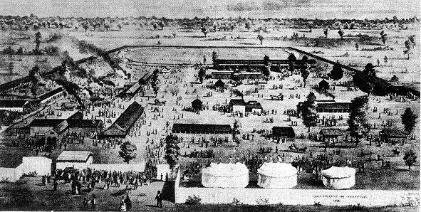 The State Fair in 1870.  It was then located on the site of old Camp Morton, between Delaware and New Jersey street, from 19th to 22nd streets. Source: Indiana Historical Bureau, date unknown
