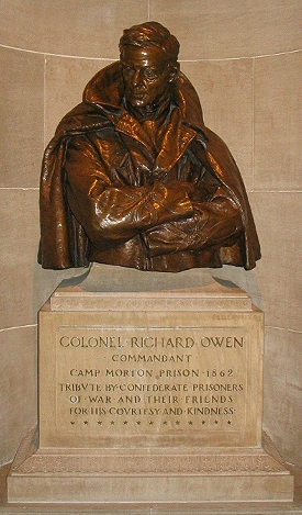 Bust of the camp's commander, Richard Owens. Located in the Indiana State House