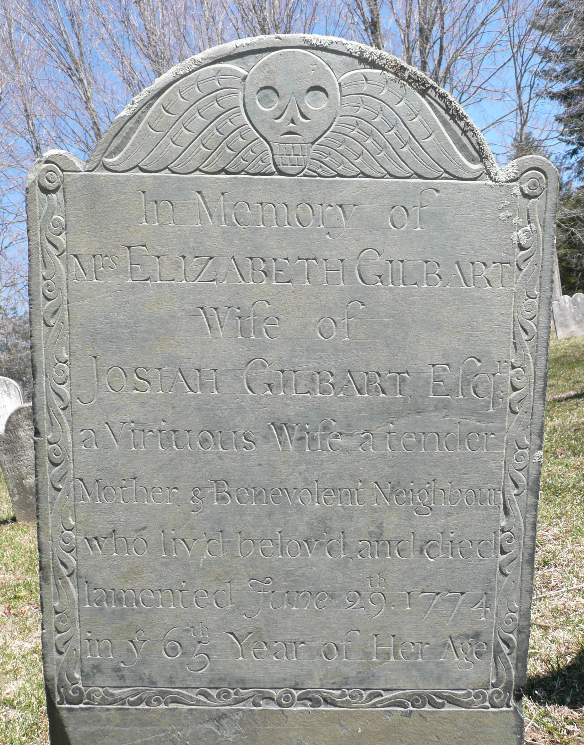 Tombstone of Elizabeth Gilbart.