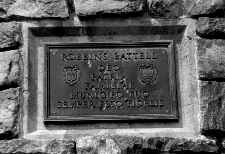 """Translation of the plaque on the tower: """"To God, your family, your country, your family, and your town, always be faithful."""" Photographed by David Ransom."""