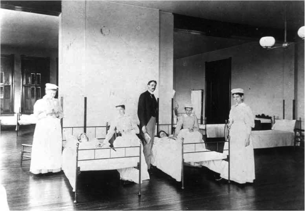 1887 Nursing Class: The four nursing graduates of Flower Mission Training School for Nurses class of 1887 in the Indianapolis City Hospital. The initial class sizes were quite small, beginning with the first graduating class of five students in 1885.