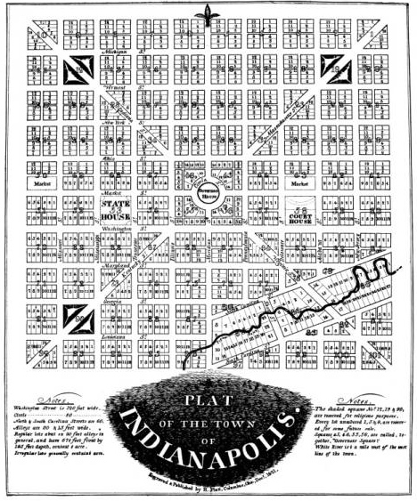 The original plat or plan for Indianapolis as laid out by Alexander Ralston and Elias Fordham in 1821.