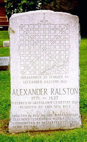 The headstone at the grave of Alexander Ralston at Crown Hill Cemetery.