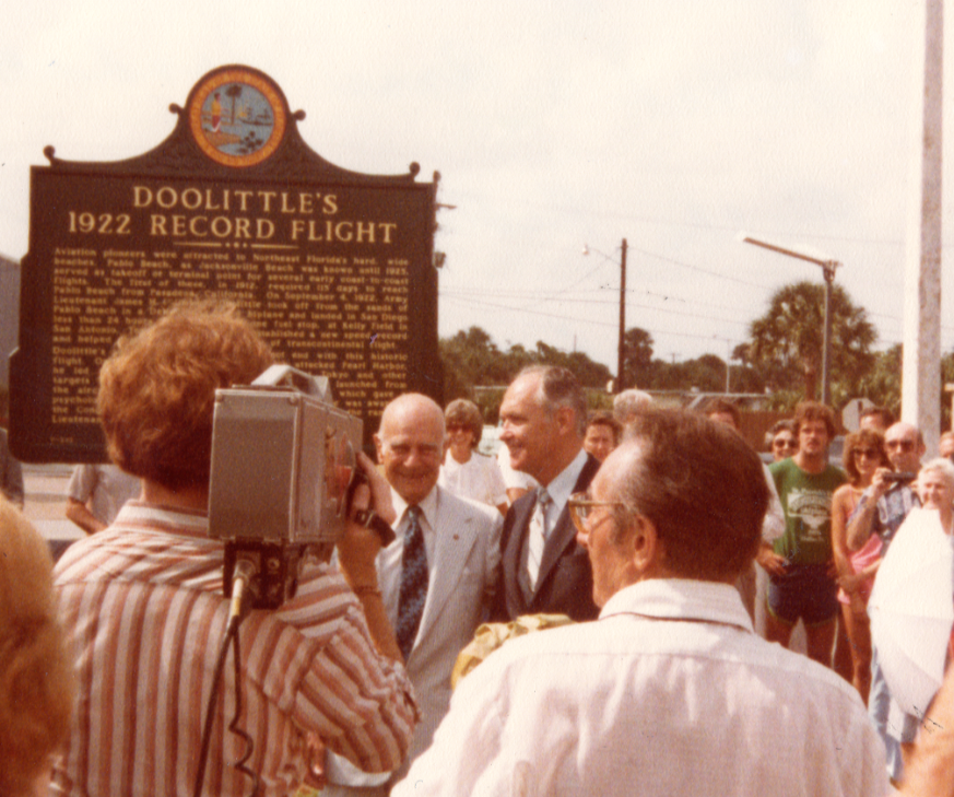 On September 4, 1980, the Society invited Lt. Gen. Doolittle back to Jacksonville Beach to unveil and dedicate a marker honoring his historic flight in 1922.  Doolittle is the man in the pale suit and tie.